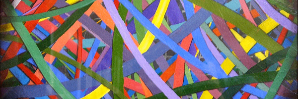 Curved painted lines on water color paper, acrylic paint