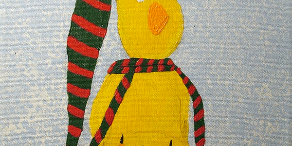 Painted illustration, in acrylic of a chick on sled